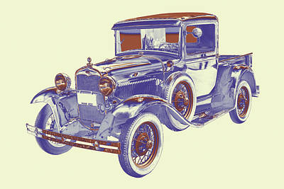 1930 Model A Ford Pickup Truck Pop Art Poster by Keith Webber Jr