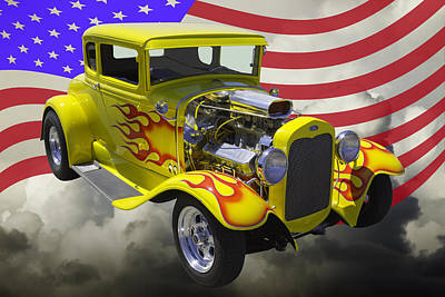 1930 Model A Hot Rod And American Flag Poster by Keith Webber Jr