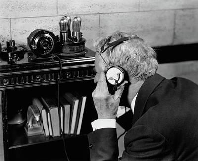 1930s 1940s Elderly Man Listening Poster