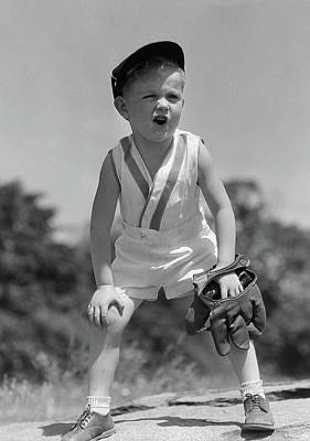 1930s Boy Wearing Baseball Hat & Glove Poster