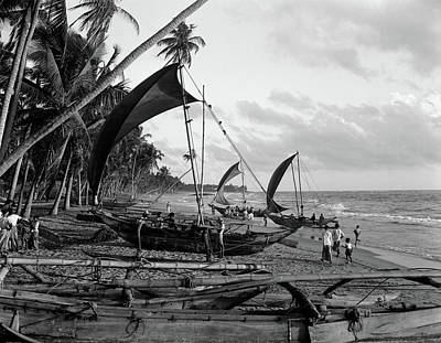 1930s Catamarans On Tropical Beach Poster