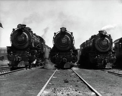 1930s Head-on Shot Of Three Steam Poster