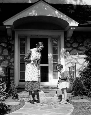 1930s Mother And Daughter Sweeping Poster