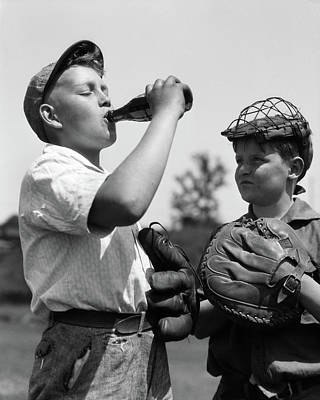 1930s Pair Of Boys Wearing Baseball Poster