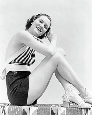 1930s Portrait Smiling Brunette Woman Poster
