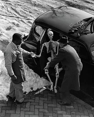 1930s Two Men Taking Skeleton Poster