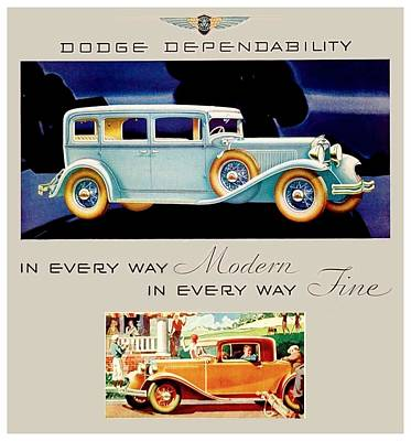 1931 - Dodge Sedan And Coupe Automobile Advertisement - Color Poster