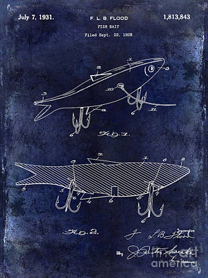1931 Fish Bait Patent Drawing  Blue Poster