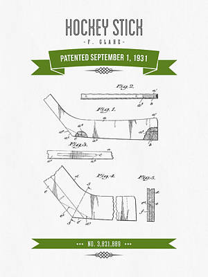 1931 Hockey Stick Patent Drawing - Retro Green Poster by Aged Pixel
