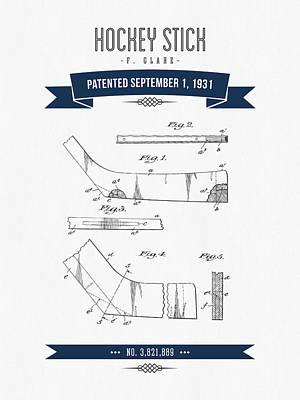1931 Hockey Stick Patent Drawing - Retro Navy Blue Poster