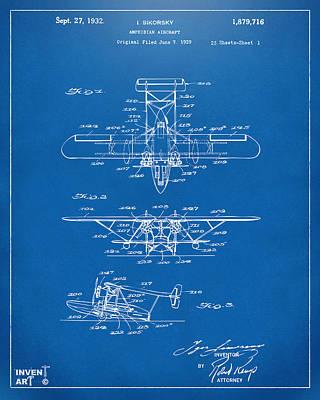 1932 Amphibian Aircraft Patent Blueprint Poster by Nikki Marie Smith