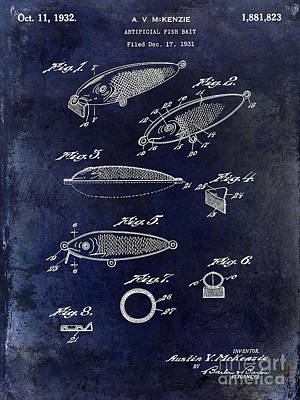 1932 Fishing Patent Drawing Blue Poster