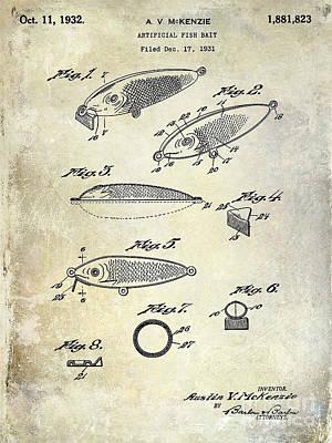 1932 Fishing Patent Drawing  Poster by Jon Neidert