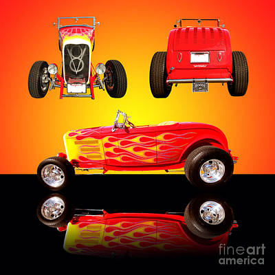 1932 Ford Flaming Hotrod Poster by Jim Carrell