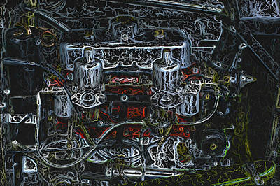 1932 Frazer Nash Tt Engine Detail Digital Art Poster by John Colley