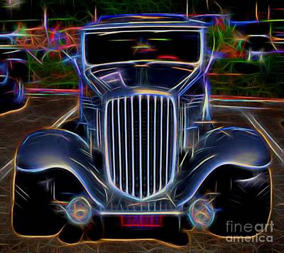1932 Nash Coupe Antique Car - Neon 2 Poster