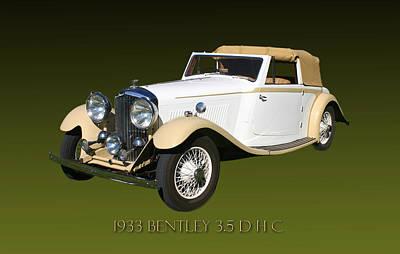 1933 Bentley 3  5  Liter Drop Head Coupe Poster by Jack Pumphrey