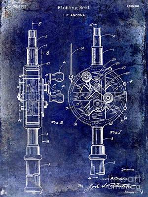 1933 Fishing Reel Patent Drawing Poster by Jon Neidert