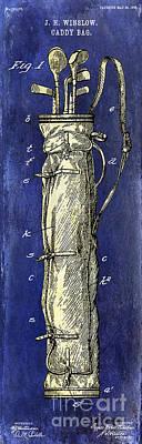 1933 Golf Bag Patent Drawing 2 Tone Blue Poster by Jon Neidert