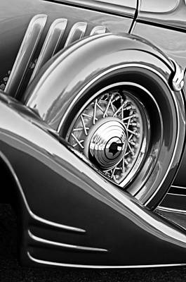 1933 Pontiac Spare Tire -0431bw Poster by Jill Reger