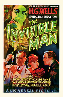1933 The Invisible Man Vintage Movie Art Poster