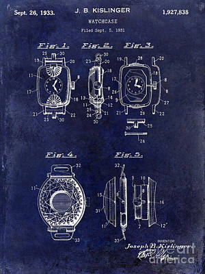 1933 Watch Case Patent Drawing Blue Poster