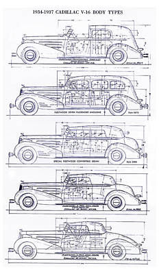 1934-37 Cadillac V-16 Body Types Blueprint Poster by Jon Neidert