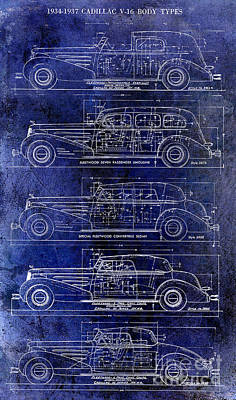 1934-37 Cadillac V-16 Body Types Drawing Blue Poster by Jon Neidert
