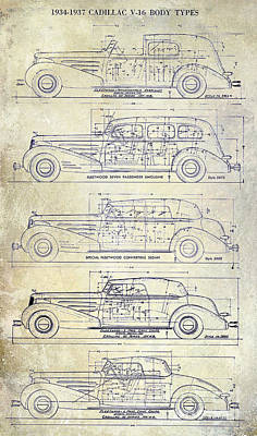 1934-37 Cadillac V-16 Body Types Drawing Poster by Jon Neidert