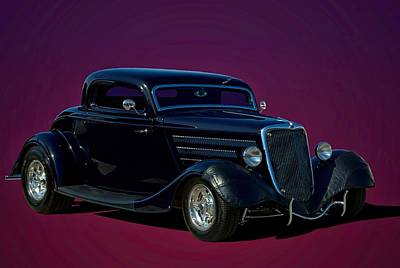 1934 Ford 3 Window Coupe Hot Rod Poster