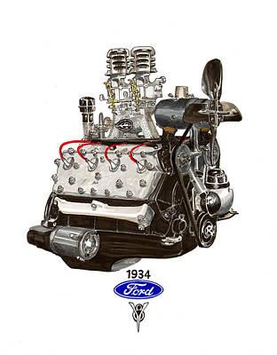 1934 Ford Flathead V 8  Poster