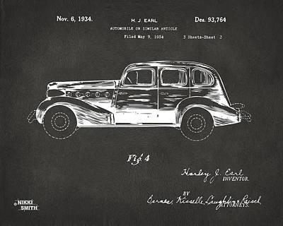 1934 La Salle Automobile Patent 3 Artwork - Gray Poster