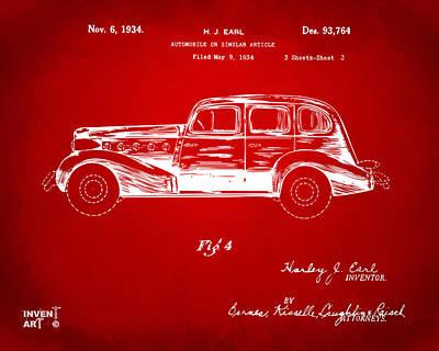 1934 La Salle Automobile Patent 3 Artwork Red Poster