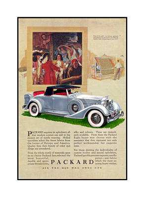 1934 Packard 12   1107 Roadster Vintage Ad Poster