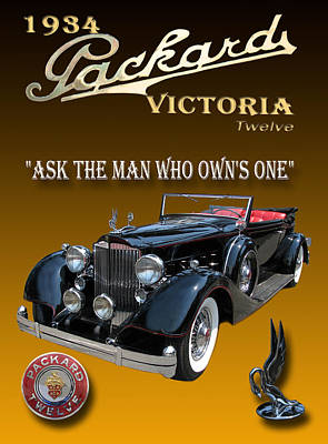 1934 Packard Poster by Jack Pumphrey