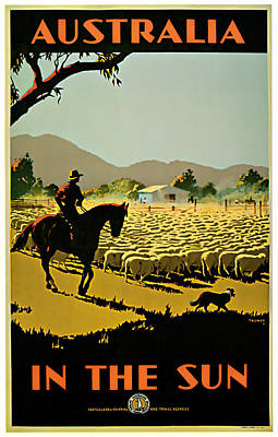 1935 Australia In The Sun - Vintage Travel Art Poster by Presented By American Classic Art