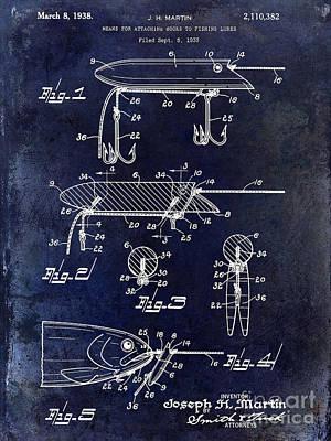 1935 Fishing Lure Patent Blue Poster by Jon Neidert