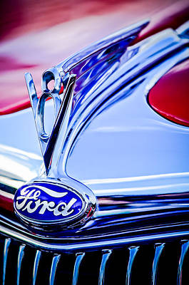 1935 Ford Cabriolet Resto-mod Hood Ornament - Emblem -0842c Poster by Jill Reger