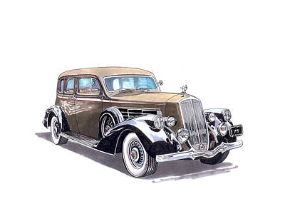 1935 Pierce Arrow V 12 Sedan Poster by Jack Pumphrey