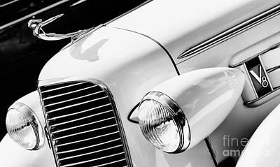 1936 Cadillac V8 Monochrome Poster