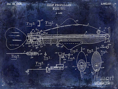 1936 Fish Toy Patent Drawing Blue Poster