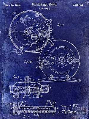 1936 Fishing Reel Patent Drawing Blue Poster