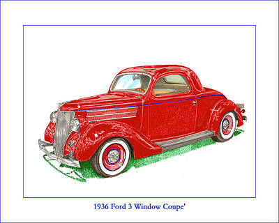 1936 Ford 3 Window Coupe Restro Poster