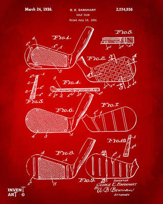 1936 Golf Club Patent Artwork Red Poster by Nikki Marie Smith