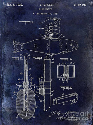1937 Fishing Knife Patent Blue Poster by Jon Neidert