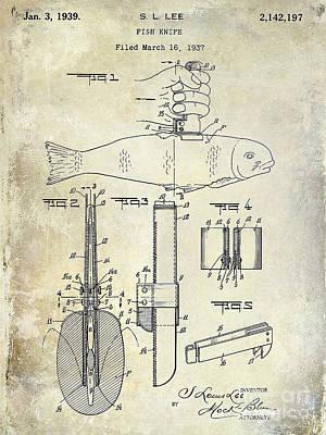 1937 Fishing Knife Patent Poster by Jon Neidert