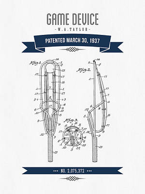 1937 Game Device Patent Drawing - Retro Navy Blue Poster by Aged Pixel
