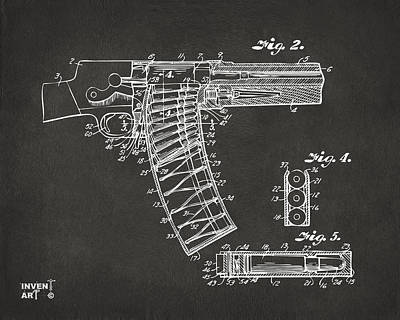 1937 Police Remington Model 8 Magazine Patent Minimal - Gray Poster by Nikki Marie Smith