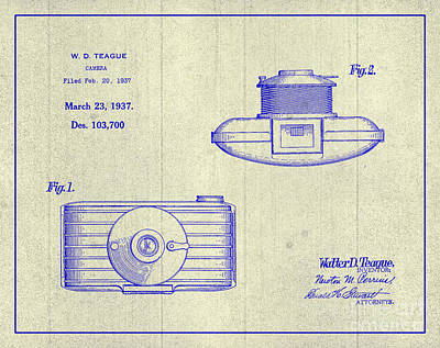 1937 Walter D. Teague Camera Patent Art 3 Poster