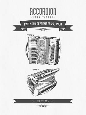 1938 Accordion Patent Drawing Poster by Aged Pixel